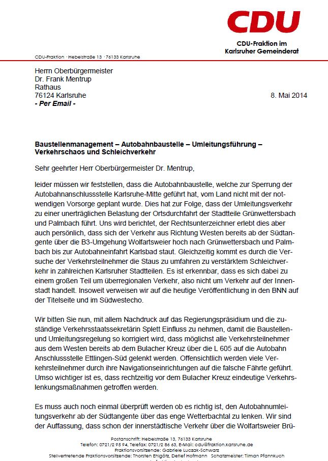 Brief der CDU an den OB